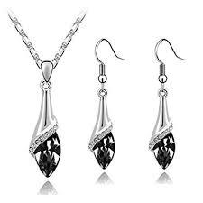 Klaritta <b>Elegant</b> Silver Black Crystal Eye Jewellery <b>Set</b> Drop <b>Earrings</b> ...