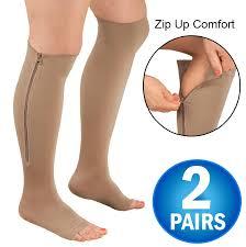 2 <b>Zipper</b> Pressure <b>Compression Socks Support Stockings</b> Leg ...