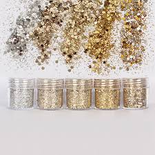 <b>1 box</b> 10ml mixed nail art glitter powder <b>champagne gold</b> silver ...