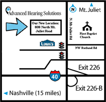 Image of driving directions to office location  Advanced Hearing Solutions