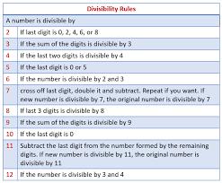 Divisibility Rules for 2, 3, 4, 5, 6, <b>7</b>, 8, 9, <b>10</b>, 11, <b>12</b>, <b>13</b>