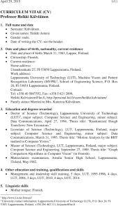 curriculum vitae cv professor heikki kälviäinen pdf work address lappeenranta university of technology lut machine vision and pattern recognition