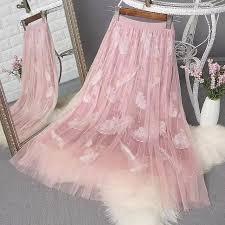 <b>LADIES</b> High Waist <b>Sweet Lace</b> Pleated Long Half-body bead Skirt ...