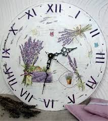 Handmade clock. Decoupage technique. Lavender. Provence. <b>Wall</b> ...