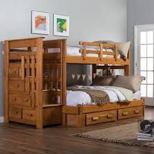 cool wood bunk beds with stairs and drawers plus white bedding on wooden floor matched with bunk beds desk drawers bunk