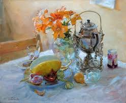 Still life with <b>metal tea pot</b>, <b>flowers</b> and fruits. Painting by Igor Zhuk ...