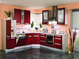unique l shape kitchen cabinet ideas with maroon slab door using white plastic handle pull and architecture awesome kitchen design idea red