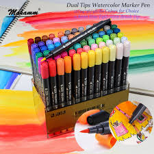 <b>STA 12/24/36/48</b>/<b>80 Colors</b> Dual Tips Watercolor Brush <b>Marker</b> Pen ...