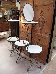 Set of 6 French <b>Vintage</b> Iron Cafe <b>Bistro Tables</b> with Round Marble ...