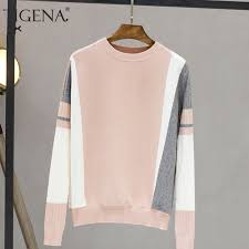 TIGENA <b>Contrast Color</b> Sweater Female 2019 <b>Autumn Winter</b> ...