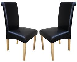 faux leather dining chair black:  price sale  pair of black roma faux leather chairs with oak legs   price deal  p