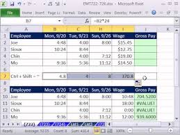 excel magic trick  calculate gross pay for week from time  excel magic trick 722 calculate gross pay for week from time values in range amp hourly wage