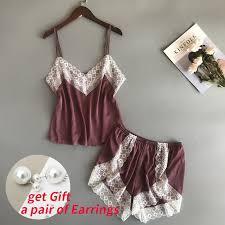 <b>BZEL</b> New <b>Pajamas</b> Sets Sexy Lace <b>Pyjamas</b> For Women V neck ...