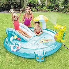 CATLXC Garden Big Paddling Pool with Slide Portable Foldable ...