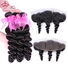 <b>Queen Hair Products</b> 3 Bundles Human Hair with Brazilian <b>Loose</b> ...