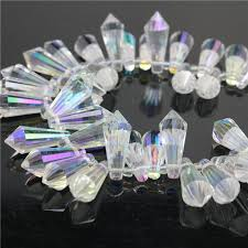 98pcs/lot <b>Crystal</b> Tear <b>Drop</b> Beads <b>Pendant</b> 8x20mm White Faceted ...