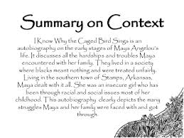 i know why the caged bird sings   summary on context i know why the caged bird sings