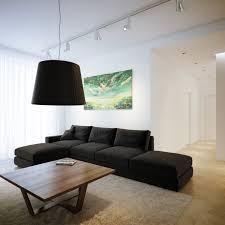 luxury modern interior living room furniture set deas black fabric sleeper sectional sofa and teak rectangle black white living room furniture