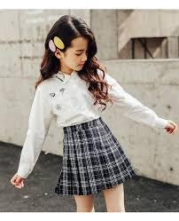 <b>2019</b> spring <b>autumn vintage</b> pleated skirt toddler girls plaid cotton ...