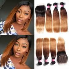 Julia <b>Ombre</b> Virgin Brazilian Straight Hair 3 <b>Bundles With</b> Lace ...