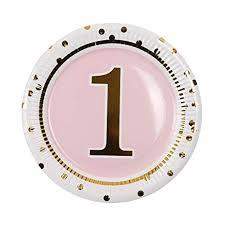 Geeklife 1st Birthday Girl Gold Paper Plates,Cute Pink ... - Amazon.com