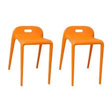 EZ <b>Stacking</b> 22 in. Modern Plastic Orange Accent <b>Stool</b> Chair (Set of <b>2</b>)