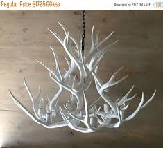 ON SALE <b>Antler</b> Chandelier painted solid <b>white</b> and hand | Etsy