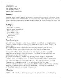 professional billing specialist templates to showcase your talent    resume templates  billing specialist