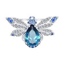 """92040052- <b>Брошь</b> """"Мушка"""" из серебра с миксом камней купить за ..."""