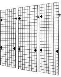 <b>Black</b> wall Frames - 2' x 6' Grid Panel Wall Display 3Pack Kit, <b>Black</b> ...
