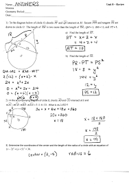 unit circles tywls geometry  unit 8 review answers page 1