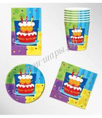 <b>Набор</b> посуды для декора стола <b>Happy</b> Birthday из 4 элементов ...