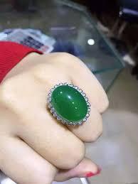 Natural green chalcedony gem Ring Natural gemstone ring <b>S925</b> ...