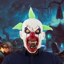 <b>Deluxe Horrible Scary Clown</b> Mask Adult Men Latex Green Hair ...