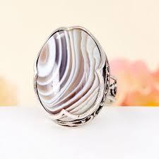 <b>Кольцо агат серый</b> Ботсвана (<b>серебро</b> 925 пр.) размер 17,5 ...