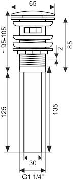 <b>Донный клапан</b> для раковины <b>Melana T201B</b> с переливом, черный
