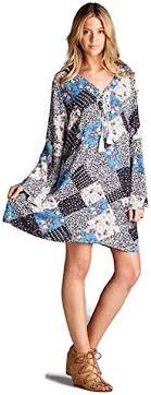 Velzera <b>Women's</b> Floral <b>Patchwork Tassel</b> Tie Mini Dress at Amazon ...