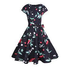 MRULIC <b>Spring Women Vintage</b> Cherry Print <b>Bodycon</b> Short Sleeve ...