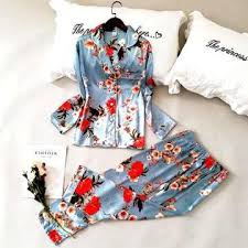 <b>Daeyard</b> Women <b>Pajamas</b> Luxury Floral Print Shirts And Pants 2Pcs ...