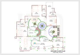 D elevation and plan of bhk luxury house   sq  ft    Kerala    Ground floor plan of square feet bedroom luxury home design   May