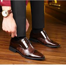 2019 <b>spring New men's</b> business formal lacquer <b>leather shoes</b> tide ...