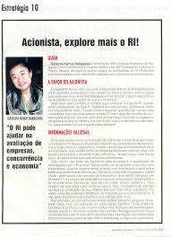 entrevista jpg 02 12 2004 veja entrevista da diretora do ibri natasha nakagawa na revista investidor individual intitulada acionista explore mais o ri