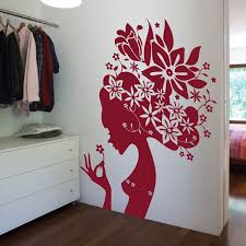 Small Picture Large Flower Girl Wall Sticker Giant Designer Flower Wall Decor