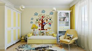themed kids room designs cool yellow:  cool tree decal