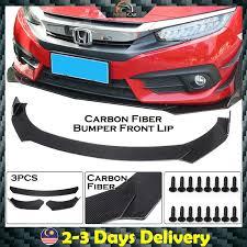 3pcs Universal Carbon Fiber Adjustable <b>Car Front</b> Bumper <b>Diffuser</b> ...