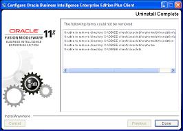 uninstall oracle bi administration tool obiee 11g client uninstall complete obiee administration