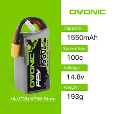 <b>OVONIC 1550mAh 4S</b> 100C Max 200C <b>14.8V</b> Lipo Battery XT60 ...