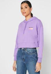 Shop New Balance purple <b>Sportstyle Optiks Hoodie</b> WT01523NVI ...
