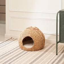 VIFAH Amelia 18-in Round Hand-woven Water Hyacinth <b>Cat House</b> ...