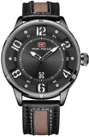 <b>Mini Focus</b> Casual <b>Watch</b> for Men , Analog , Leather Strap , <b>Black</b> ...